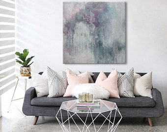 Large abstract painting square pale pink grey white painting- dreams-  ElenasArtStudio