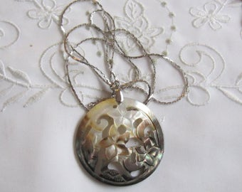 Vintage Abalone Flowered Pendant on Silver Tone Chain from Japan