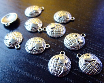 Destash (10) Tiny Globe World Charms - for pendants, jewelry making, crafts, scrapbooking