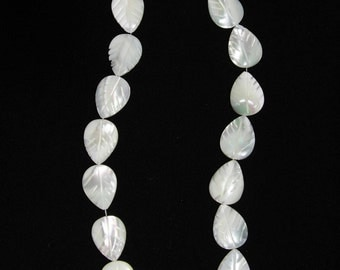 Mother of Pearl, Mother of Pearl Leaf, MOP Leaf Bead, Shell Leaf Bead, MOP Leaf Strand, Full Strand, 19 mm, AdrianasBeads