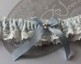 Lace wedding garter. Something blue luxury silk and Nottingham Lace Bridal garter