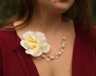 Ivory Pale Yellow Asymmetrical Flower Crystal Necklace, Lemon Rose