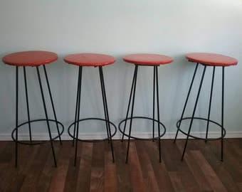Mid Century Modern Wrought Iron Modern Stools Bar Stools swivel seats Customizable Bar & Swivel bar stools | Etsy islam-shia.org