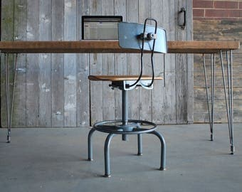 "Vintage reclaimed wood desk with mid century Hairpin legs with 1 drawer included, 48"" l x 26"" w x 30"" h, 1.65"" top"