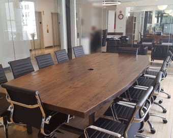 Large reclaimed conference table, boat shape (pic 1) made with reclaimed wood 2.5 inches thick and steel legs-you choose color, size, finish
