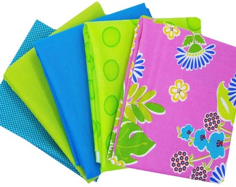 Bundle of 5 with Sanibel Hot Pink Tropical Floral and Coordinating Moda Solids and Dotties, by Moda