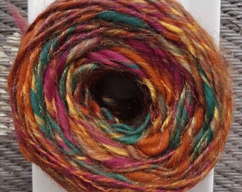 Hand Dyed, Hand Spun, Japanese Maple, Merino, Bamboo, Firestar Art Yarn, 125 yards Bulky yarn, Thick and Thin