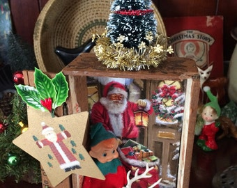 Whimsical Christmas Diorama Art with Vintage Collectibles