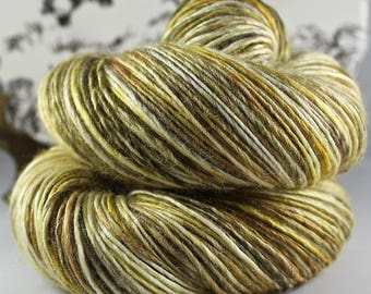Handspun Yarn Gently Thick and Thin Single Superwash Merino and Silk 50/50 'Scarecrow'