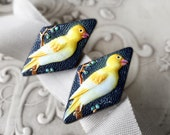 Japanese Porcelain Earrings by Toshikane Arita - Goldfinches
