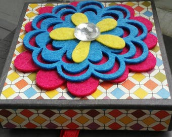 In Bloom - recycled handmade gift box with colorful print paper, jewel & liner - treasure, jewelry, wish, stash or storage holer
