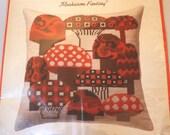 Mushroom Fantasy - 1970s WONDER ART needlepoint 14 inch Pillow Kit with cotton canvas & WOOL tapestry yarn - orange, brown, 70s, retro decor
