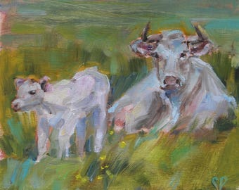 White cow and calf, cow painting, British White Cattle, Charolais, Bovine art, farmhouse decor, cow in field, farm art, Country chic,