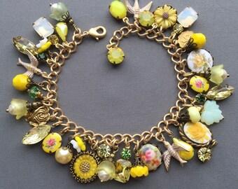 Charm Bracelet - Yellow Bracelet - Yellow Jewelry - Rhinestone Bracelet - Vintage Bracelet - Spring Jewelry - Flower Jewelry - Gift for Her