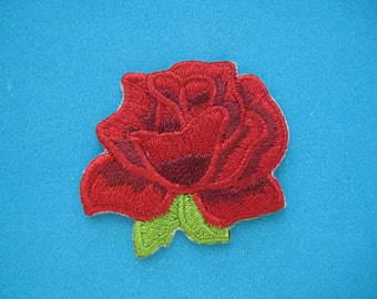 SALE~ 2 pcs Iron-On embroidered Patch Red Rose 1.5 inch