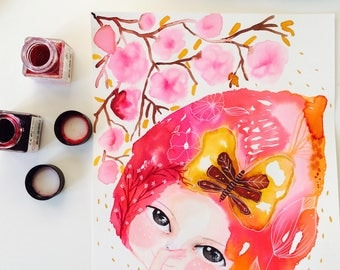 Spring watercolor, watercolor girl painting, floral watercolor, nursery decor, almond tree, watercolor wall art, colorful wall art, pink