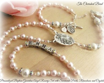 Personalized Baptism Guardian Angel Rosary Set with Swarovski Light Pink and White Pearls, Rhinestones, Crystals and Sterling Monogram