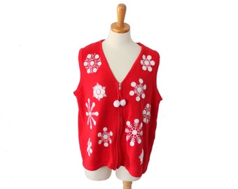 Vintage 90s Snowflake Pattern Red and White Sweater Vest // Women XL // Nordic, ugly Christmas jumper