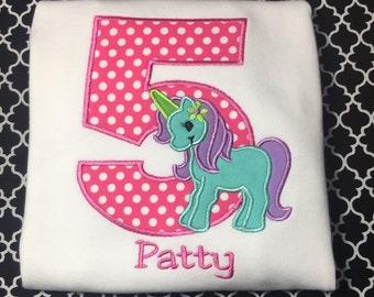 Unicorn Pony Birthday Shirt or Bodysuit Numbers 1-9