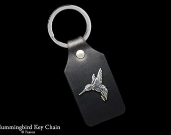Hummingbird Keychain / Keyring Sterling Silver Humming Bird on Genuine Leather Key Fob