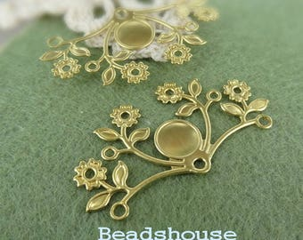 FF-600-RB : 2pcs High Quality Raw Brass  Floral Filigree Base, 28 x50mm