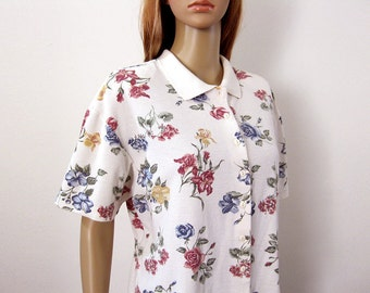 1980s Vintage Shirt Colorful Flowers White Knit Short Sleeve Blouse Top / Large