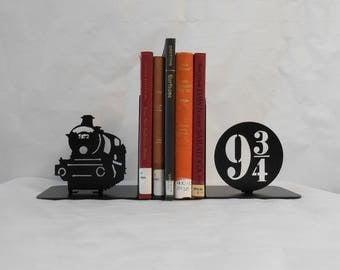 Metal Art Bookends, Movies, Books, Organizer, Metal Art, Shelf Decor, Train
