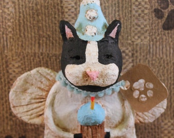 Black & White Cat Birthday Angel, OOAK, hand-sculpted from papier mache, Cat Birthday Figurine