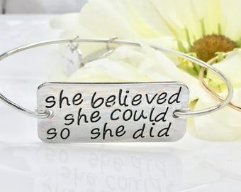 Bangle bracelet sister missionary bracelet motivational jewelry graduation bracelet graduation jewelry runner bracelet cancer survivor gift