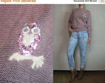 FALL SALE 80s OWL Sequin Embroidered Beaded vtg Mohair Novelty Bird Branch Applique Dusty Mauve Lilac Batwing Sweater Jumper Small Medium 19