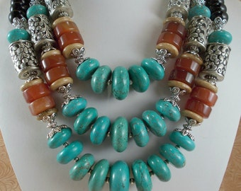 Statement Necklace Set - Chunky Turquoise Howlite - Carnelian - Handcrafted White Metal Beads - Tribal - Gypsy