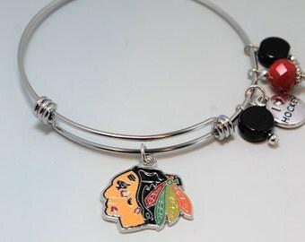 Chicago Blackhawks Expandable Bracelet/Chicago Black Hawks Bracelet Jewelry/Chicago Blackhawks Bracelets/Chicago Blackhawks Women's Gifts