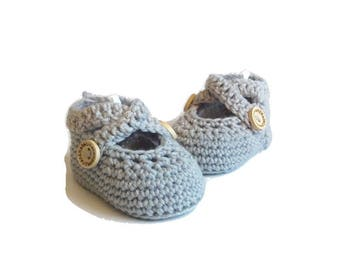 Gray Ballet Shoes Crochet Baby Shoes Merino Wool Baby Slippers Knitted Baby Shoes Gray Baby Booties Girl Baby Gift by Warm and Woolly