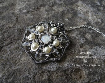 Wire Wrapped Star Pendant Necklace in Sterling And Fine Silver Freshwater Coin Bead and Swarovski Beads.