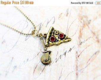 ON SALE Pizza Lover,Pizza Charm Red Rhinestone Pepperoni & Slicer on Long Golden Chain Charm Necklace by Hollywood Hillbilly