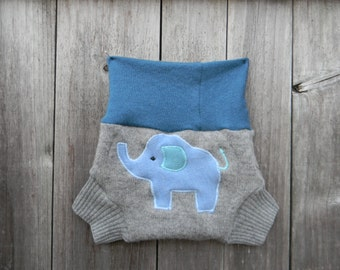 Upcycled Wool Soaker Cover Diaper Cover With Added Doubler Teal /Gray With Elephant Applique SMALL 3-7M Kidsgogreen
