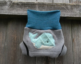 Upcycled Merino Wool Soaker Cover Diaper Cover With Added Doubler Gray/ Teal With Whale Applique NEWBORN 0-3M Kidsgogreen