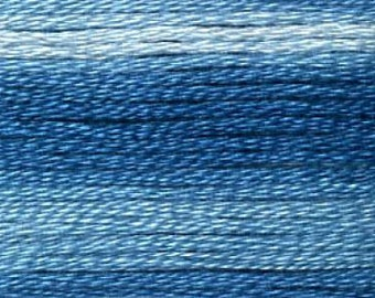 Cosmo, 6 Strand Cotton Floss, SE80-8055, Seasons Variegated Embroidery Thread, Blues, Wool Applique, Cross Stitch, Embroidery, Punch Needle