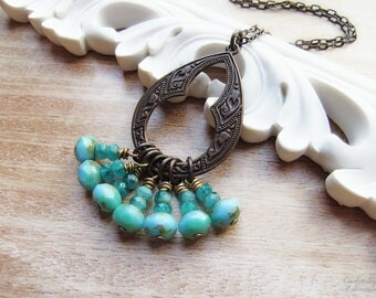 "SEA GYPSY .:. Bohemian Boho Style free spirit necklace with Vintaj metals, picasso czech glass in ocean hues, & 24"" chain"