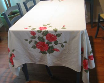 "Vintage 1960s Hibiscus Tablecloth by California Hand Prints, Mid Century 61"" x 82"" Coral Pink and Sage Green on White, Original Cloth Label"