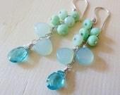 CLEARANCE Breeze aqua gemstone cluster earrings. Neon Apatite, Aqua Chalcedony and mint Peruvian Opal, Sterling silver. Mint, Aqua, Lagoon b