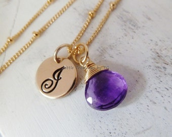 Personalized Initial Birthstone Necklace. Any 1 birthstone. Gold or Silver. Amethyst jewelry. February birthstone. Aquarius gift. Amethyst