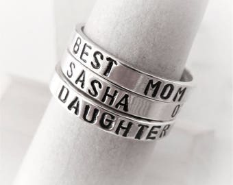 Custom. Name. Phrase. Personalized. Sterling Silver Stacking rings. Custom name. Birthstone. New mother gift. Personalized. Name. Family.