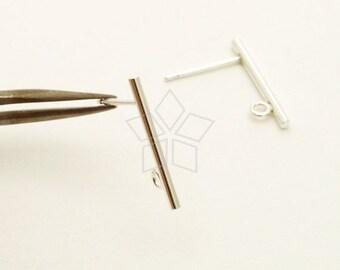 SV-212-SS / 4 Pcs - Simple Stick Stud Earring Findings, Minimalist Bar Post Studs, 925 Sterling Silver / 17mm