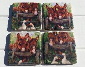 Farm Ducks Donkey Stone Coaster Set of 4 Tea Coffee Beer Coasters
