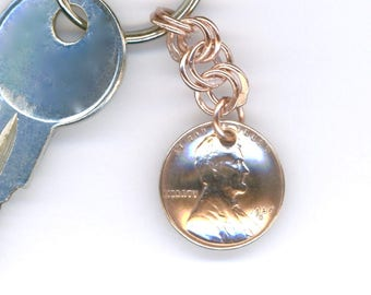 1937 Penny Keychain 80th Anniversary 80th Birthday Gift Coin 1937 Penny