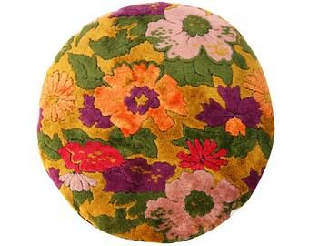 Vintage Velvet Pillow Cover - 20 inch round - Floral Velvet - Bohemian -  mid century - cotton velvet - ready to ship