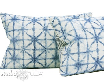 Shibori Pillow Cover - Indigo Pillow Cover - 13x19 - lumbar - decorative pillow - ready to ship