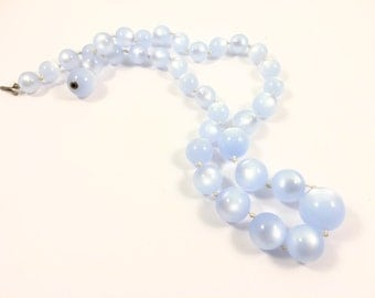 Moonglow Beaded Choker Necklace, Lucite Necklace, Lucite Jewelry, Vintage Jewelry, Blue Necklace, Vintage Choker, Vintage Beaded Necklace