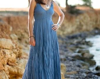 Long Denim Blue Linen Dress / Maxi / Summer Dress / Pure Linen / Crinkled Linen / Boho Beach Dress / Hand Made/ Womens Dress